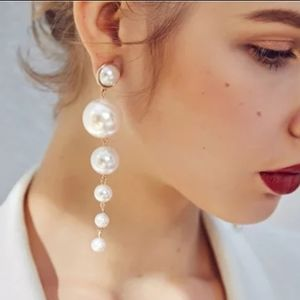 🆕 LONG Drop Dangle Pearl Balls Playful Earrings